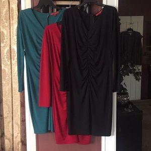 3 Ruched V-Neck Long Sleeve Dresses